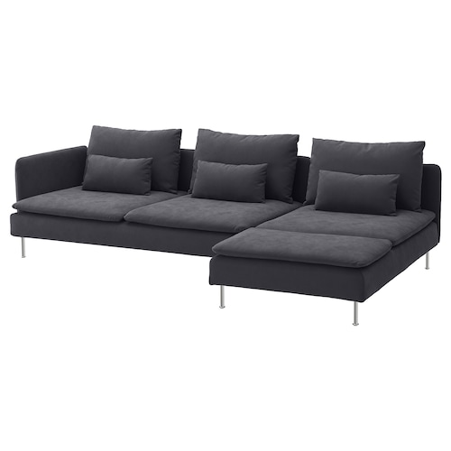 SÖDERHAMN 4-seat sofa with chaise longue and open end/Samsta dark grey 83 cm 69 cm 151 cm 285 cm 99 cm 122 cm 14 cm 6 cm 70 cm 39 cm