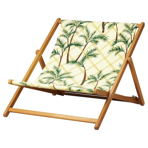 SOLBLEKT beach chair foldable eucalyptus/palm pattern yellow 98 cm 100 cm 79 cm 82 cm 45 cm 34 cm 120 kg