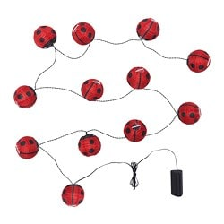 SOLVINDEN LED lighting chain with 12 lights, battery-operated, outdoor ladybird