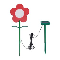 SOLVINDEN LED solar-powered ground stick, outdoor, flower red