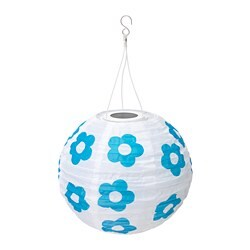 SOLVINDEN LED solar-powered pendant lamp, outdoor globe, flower patterned blue