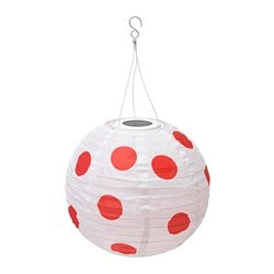 SOLVINDEN LED solar-powered pendant lamp, outdoor globe, spotted red