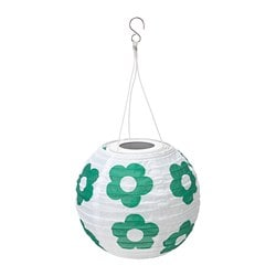 SOLVINDEN LED solar-powered pendant lamp, outdoor globe, flower patterned green