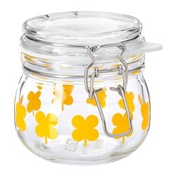 SOMMAR 2019 jar with lid, glass, patterned orange