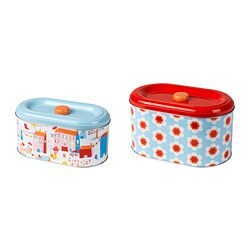 SOMMAR 2019 tin with lid set of 2, mixed patterns