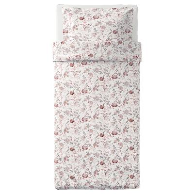 SPRÄNGÖRT quilt cover and pillowcase white/pink 250 /inch² 1 pieces 200 cm 150 cm 50 cm 80 cm