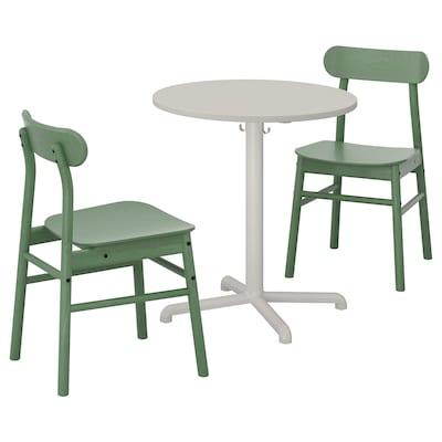 STENSELE / RÖNNINGE Table and 2 chairs, light grey/light grey green, 70 cm