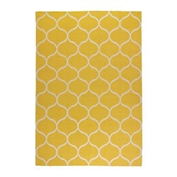 STOCKHOLM rug, flatwoven, handmade net pattern, yellow net pattern yellow