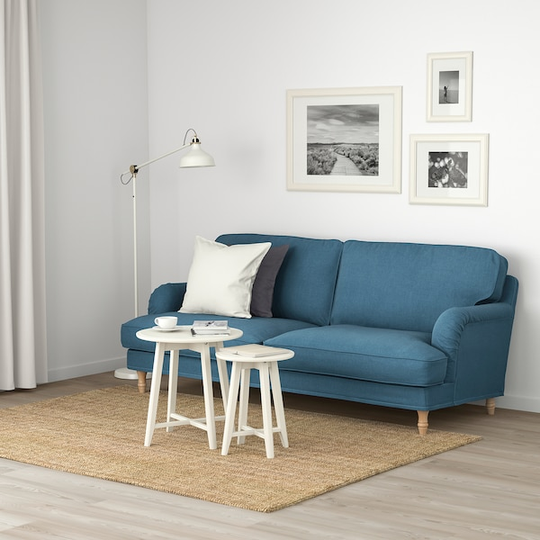 STOCKSUND 3-seat sofa, Ljungen blue/light brown/wood