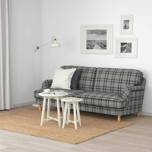 STOCKSUND 3-seat sofa, Segersta multicolour/light brown/wood