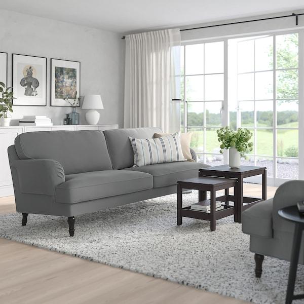 STOCKSUND 3-seat sofa Ljungen medium grey/black/wood 84 cm 73 cm 199 cm 97 cm 13 cm 167 cm 58 cm 46 cm