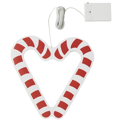 STRÅLA LED pendant lamp, battery-operated/candy cane