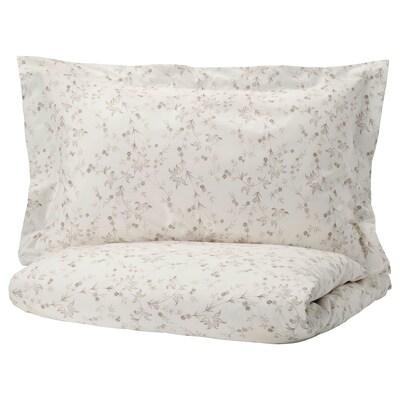 STRANDFRÄNE Quilt cover and 2 pillowcases, white/light beige, 200x230/50x80 cm
