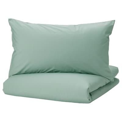STRANDTALL Duvet cover and pillowcase, grey-green/dark green, 150x200/50x80 cm