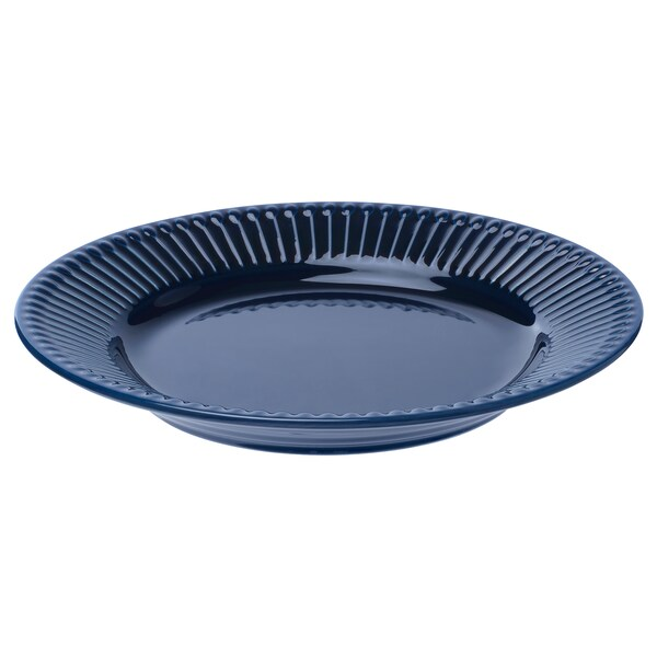 STRIMMIG Side plate, stoneware blue, 21 cm