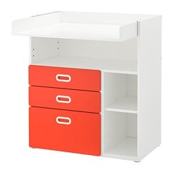 STUVA /  FRITIDS changing table with drawers, white, red