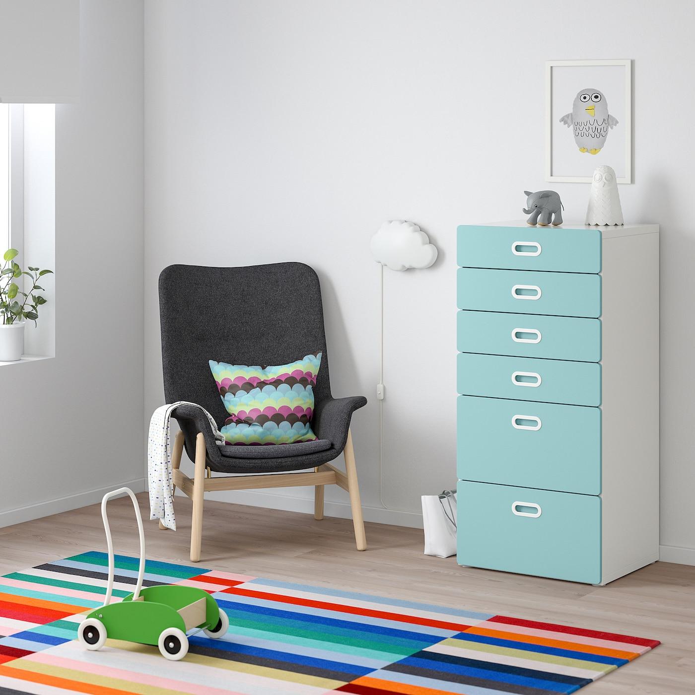 STUVA / FRITIDS Chest of 6 drawers, white/light blue, 60x50x128 cm