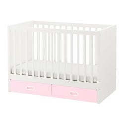 STUVA /  FRITIDS cot with drawers, light pink