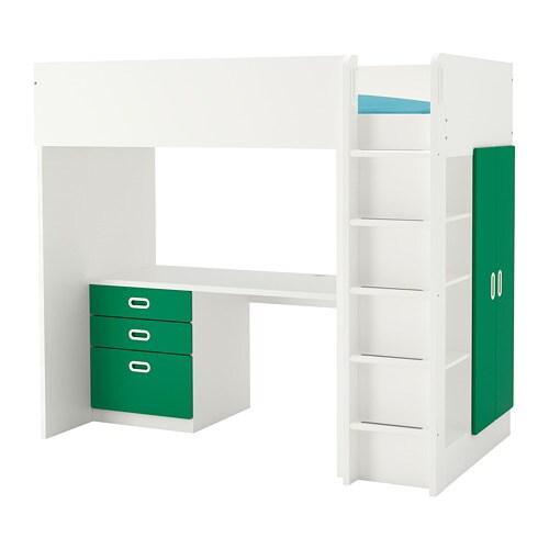 Scrivania Ikea Fredrik.Stuva Fritids Loft Bed Combo W 3 Drawers 2 Doors White Green