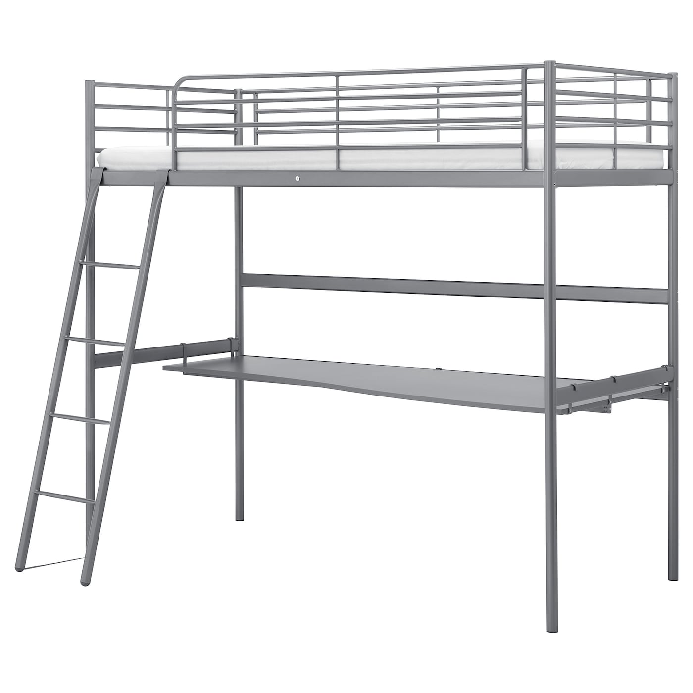 Svarta Loft Bed Frame With Desk Top Silver Colour Ikea