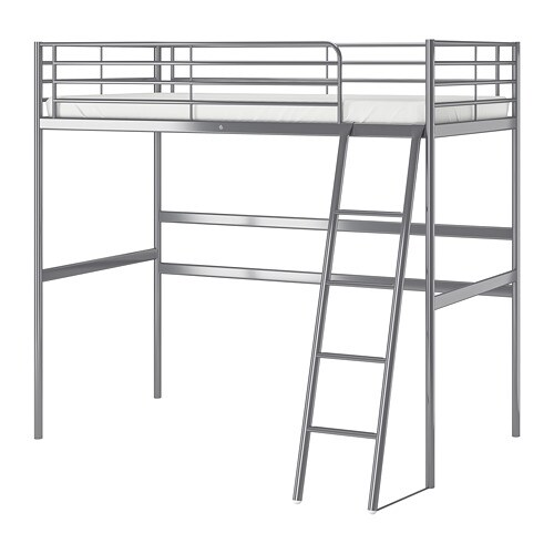 Remarkable Svarta Loft Bed Frame Silver Colour Alphanode Cool Chair Designs And Ideas Alphanodeonline