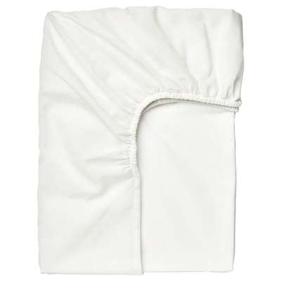TAGGVALLMO Fitted sheet, white, 90x200 cm