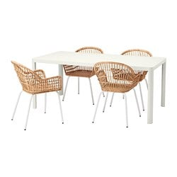 TINGBY /  NILSOVE table and 4 chairs, white, rattan white