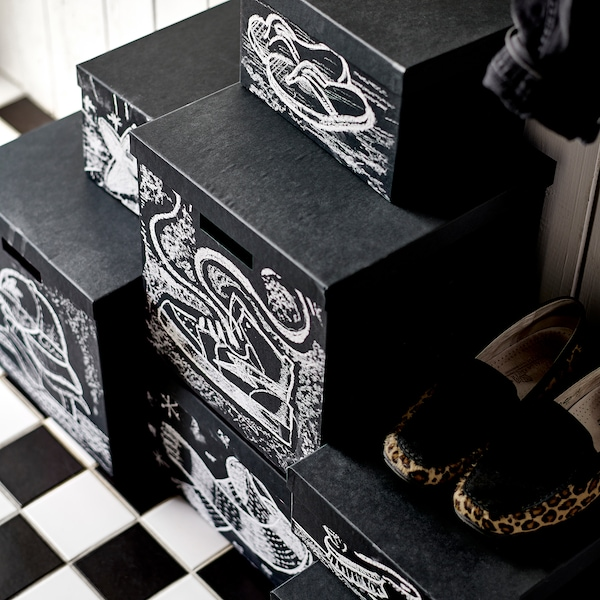 TJENA storage box with lid black 35 cm 32 cm 32 cm