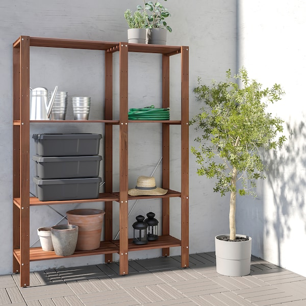 TORDH Shelving unit, outdoor, brown stained, 120x35x161 cm