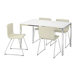 TORSBY /  BERNHARD table and 4 chairs, high-gloss white, Kavat white