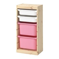 TROFAST storage combination with boxes, light white stained pine white, pink