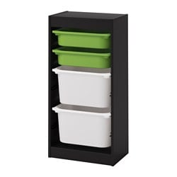 TROFAST storage combination with boxes, black, green white