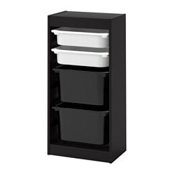 TROFAST storage combination with boxes, black, white black