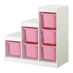 TROFAST storage combination, white, pink