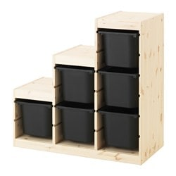 TROFAST storage combination, light white stained pine, black