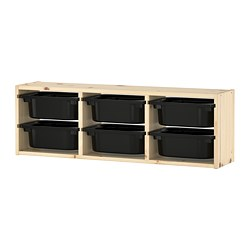 TROFAST wall storage, light white stained pine pine, black