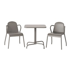 TUNHOLMEN table+2 chairs, outdoor, grey