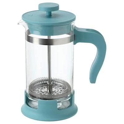 UPPHETTA Coffee/tea maker, glass/dark turquoise, 0.4 l