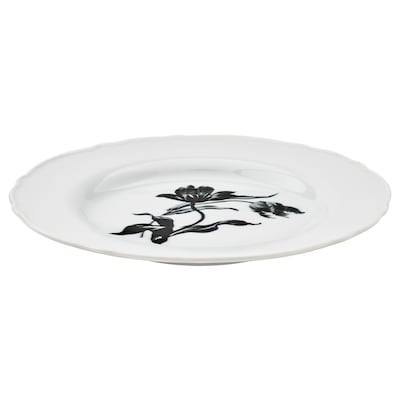 UPPLAGA Side plate, white/patterned, 22 cm