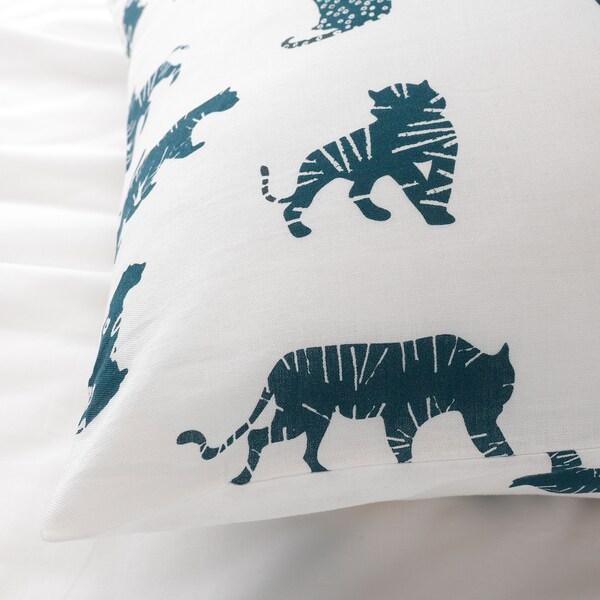 URSKOG quilt cover and pillowcase tiger/blue 200 cm 150 cm 50 cm 80 cm