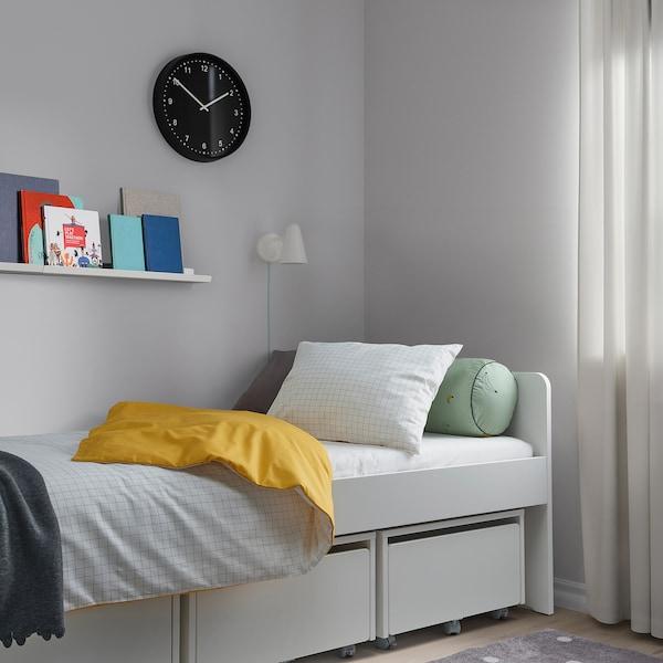 VÄNKRETS Duvet cover and pillowcase, check pattern white/yellow, 150x200/50x80 cm