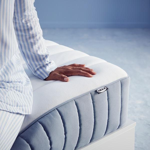 VALEVÅG Pocket sprung mattress, extra firm/light blue, 150x200 cm