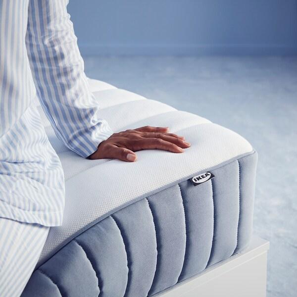 VALEVÅG Pocket sprung mattress, firm/light blue, 120x200 cm