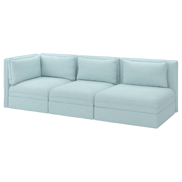 VALLENTUNA 3-seat modular sofa, with open end and storage/Hillared light blue