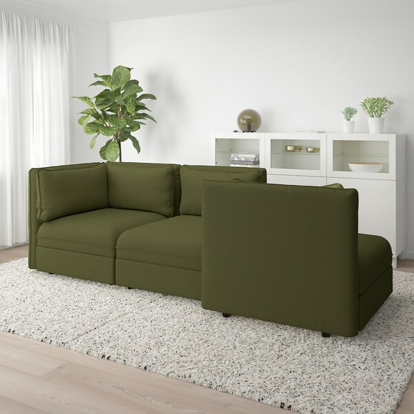 VALLENTUNA 3-seat modular sofa, with open end and storage/Orrsta olive-green