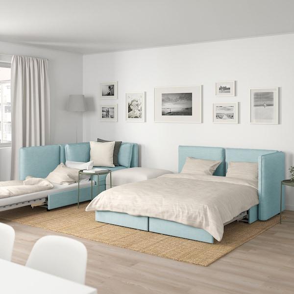 VALLENTUNA 4-seat modular sofa w 3 sofa-beds, and storage/Hillared/Murum light blue/white
