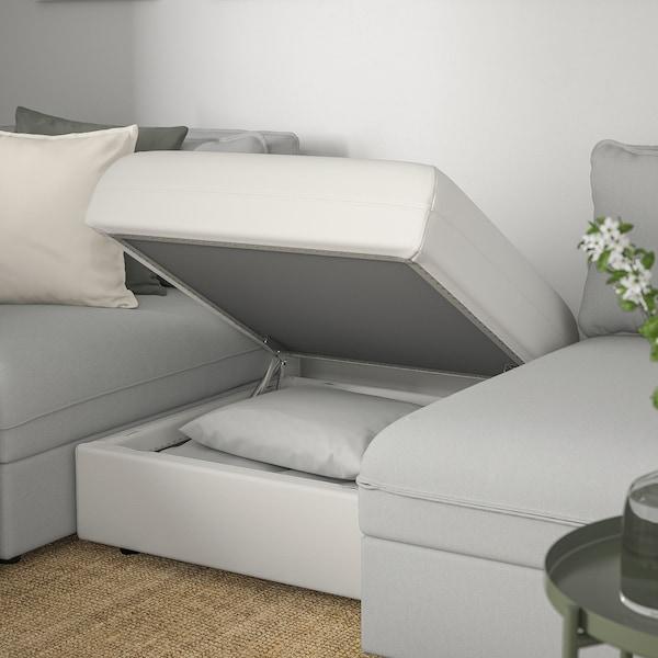 VALLENTUNA 4-seat modular sofa w 3 sofa-beds, and storage/Orrsta/Murum light grey/white
