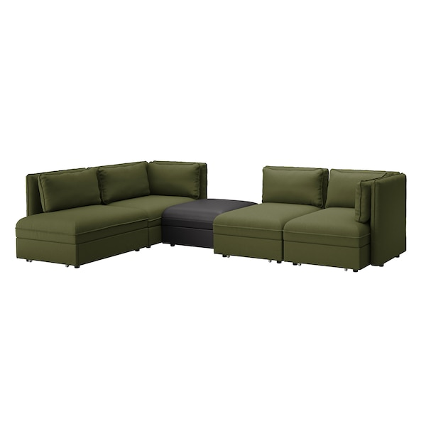 VALLENTUNA 4-seat modular sofa w 3 sofa-beds, and storage/Orrsta/Murum olive-green/black