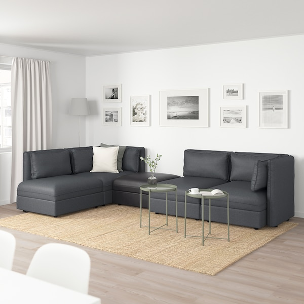 VALLENTUNA Modular corner sofa, 4 seat, with storage/Hillared/Murum dark grey/black