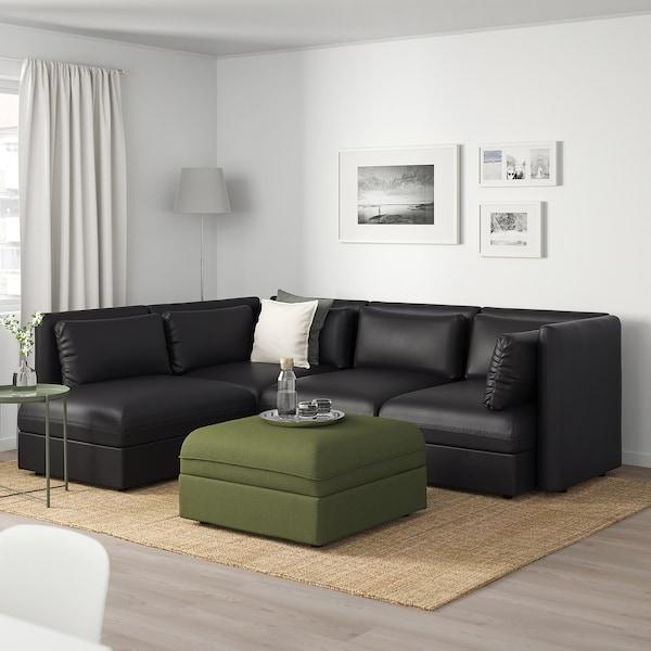 VALLENTUNA Modular corner sofa, 4 seat, with storage/Murum/Orrsta black/olive-green